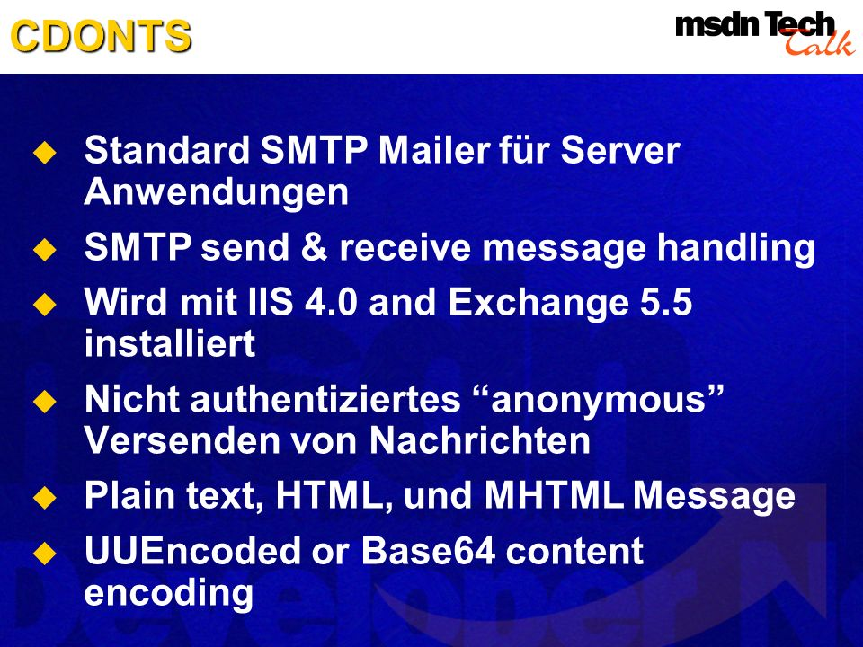 CDONTS Standard SMTP Mailer für Server Anwendungen