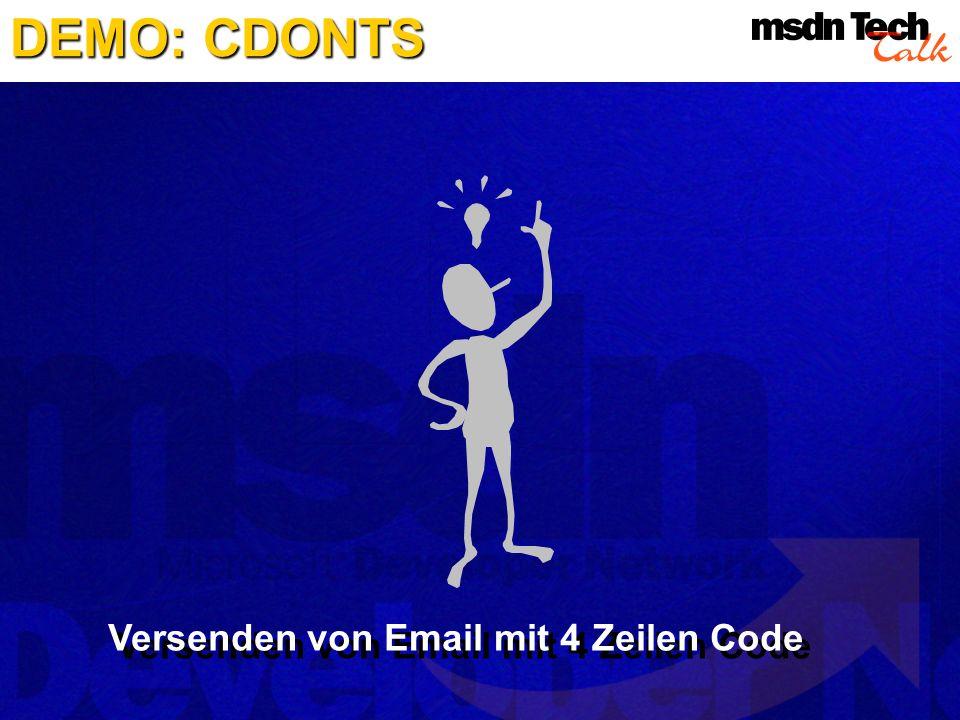 DEMO: CDONTS Versenden von Email mit 4 Zeilen Code