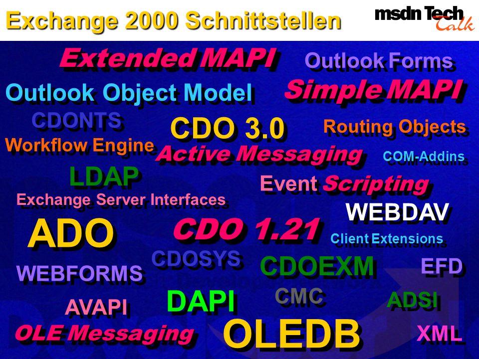 ADO OLEDB CDO 3.0 CDO 1.21 DAPI Extended MAPI Simple MAPI LDAP CDOEXM