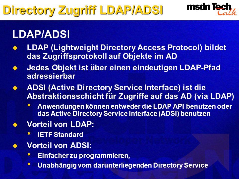 Directory Zugriff LDAP/ADSI