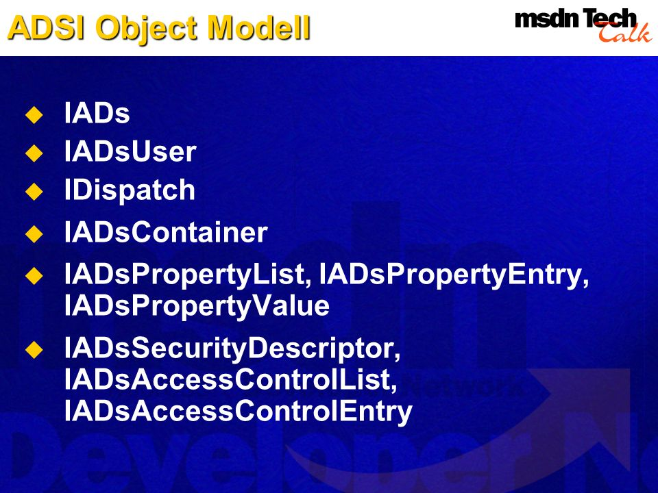 ADSI Object Modell IADs IADsUser IDispatch IADsContainer