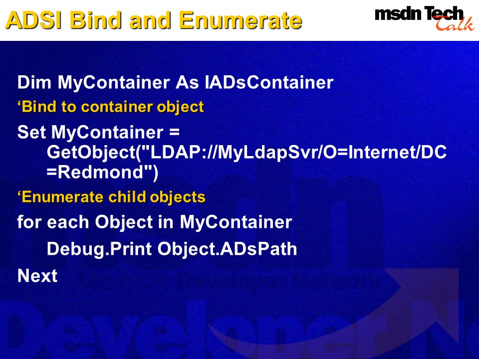 ADSI Bind and Enumerate