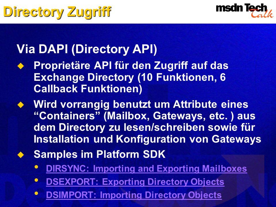 Directory Zugriff Via DAPI (Directory API)