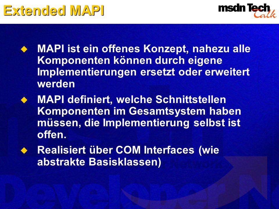 Extended MAPI MAPI ist ein offenes Konzept, nahezu alle Komponenten können durch eigene Implementierungen ersetzt oder erweitert werden.