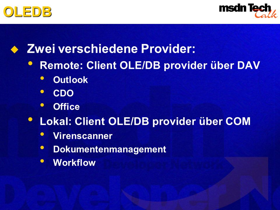 OLEDB Zwei verschiedene Provider: