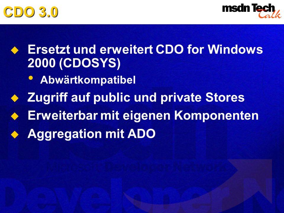 CDO 3.0 Ersetzt und erweitert CDO for Windows 2000 (CDOSYS)