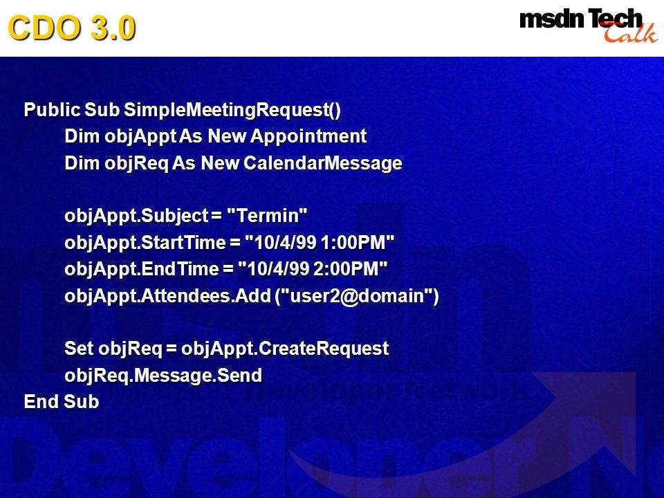 CDO 3.0 Public Sub SimpleMeetingRequest()