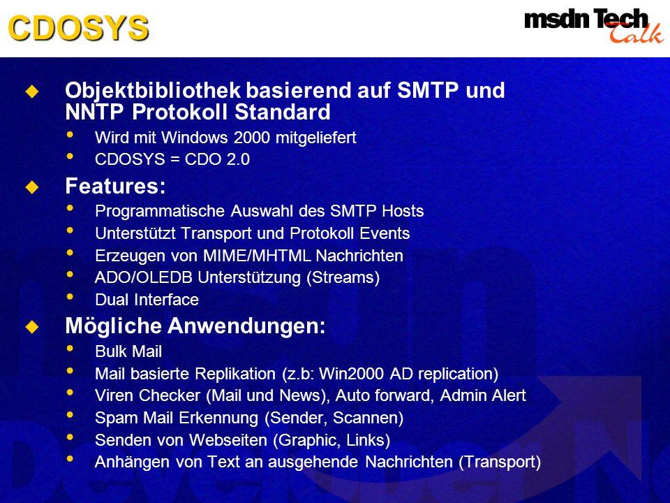 CDOSYS Objektbibliothek basierend auf SMTP und NNTP Protokoll Standard