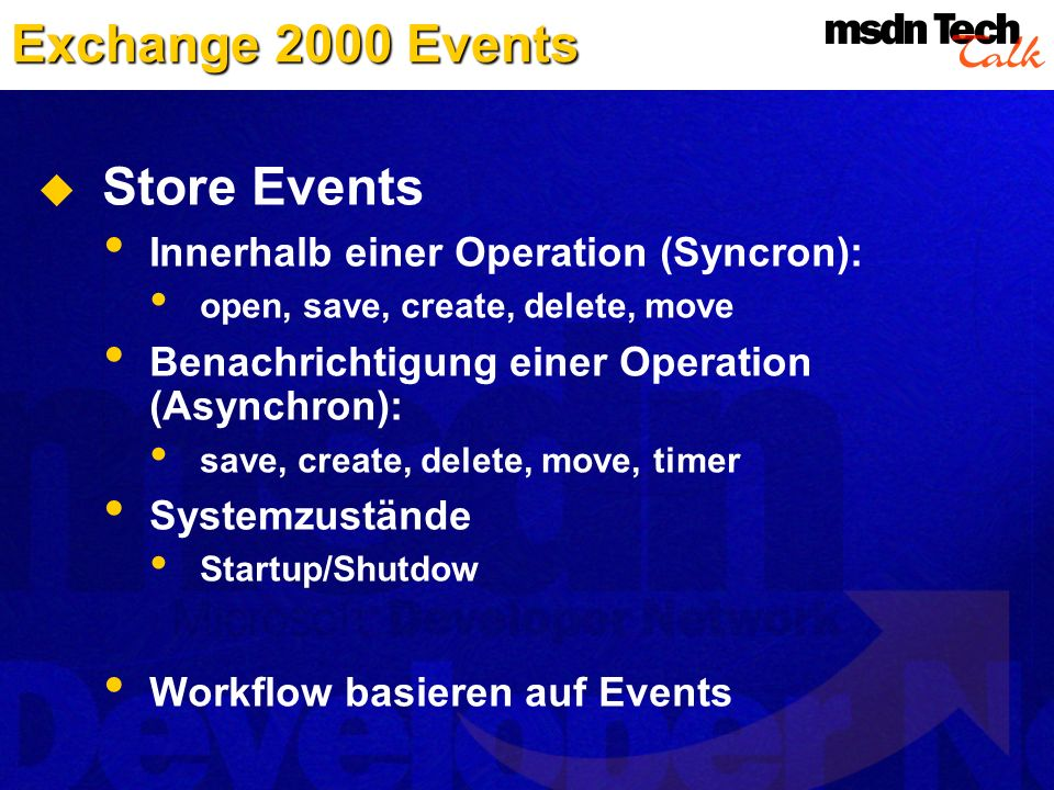 Exchange 2000 Events Store Events Innerhalb einer Operation (Syncron):