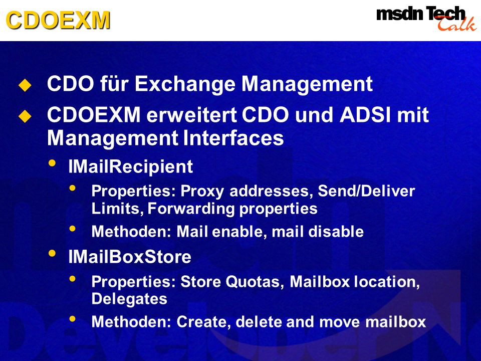 CDOEXM CDO für Exchange Management