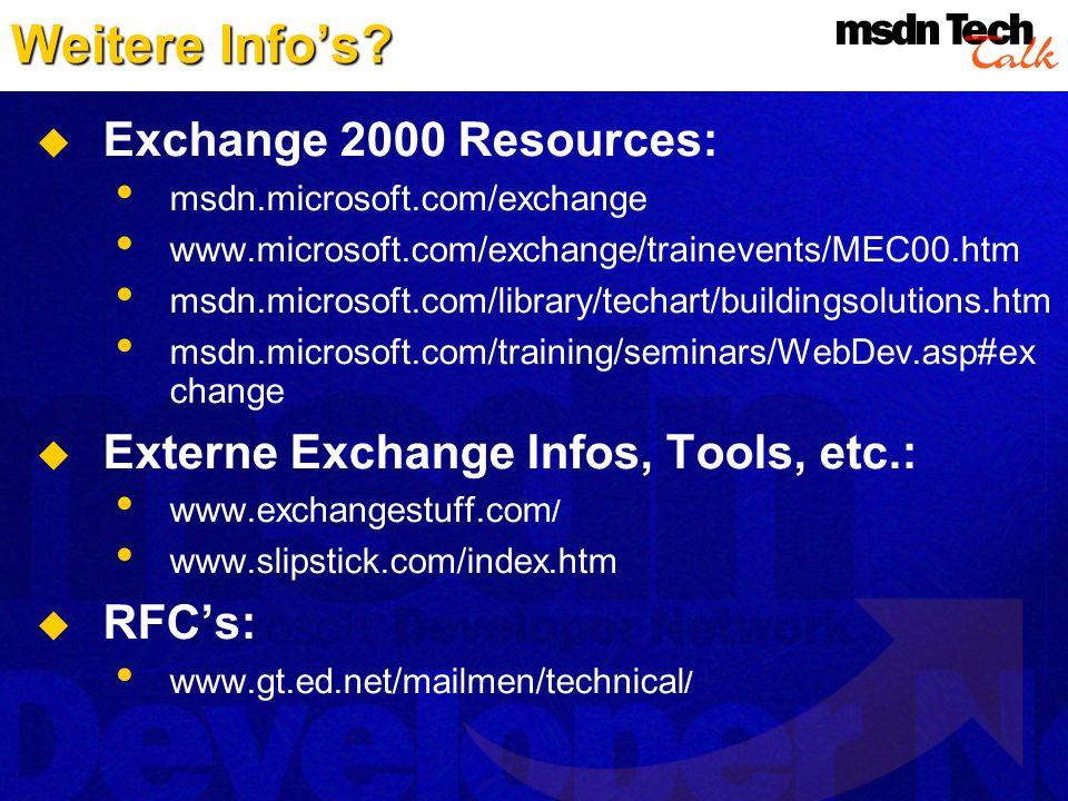 Weitere Info's Exchange 2000 Resources: