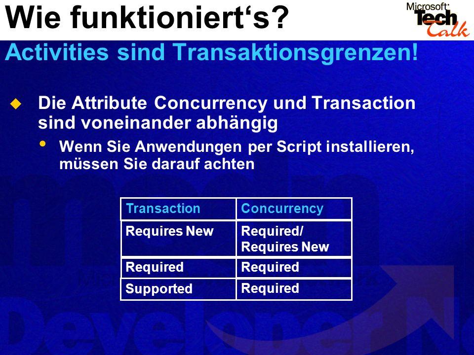 Wie funktioniert's Activities sind Transaktionsgrenzen!