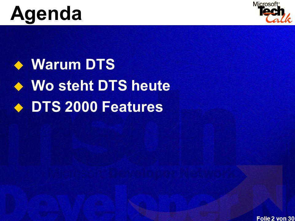 Agenda Warum DTS Wo steht DTS heute DTS 2000 Features