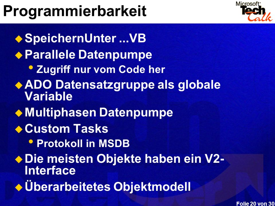 Programmierbarkeit SpeichernUnter ...VB Parallele Datenpumpe