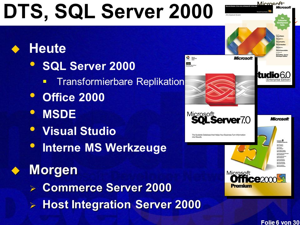 DTS, SQL Server 2000 Heute Morgen SQL Server 2000 Office 2000 MSDE
