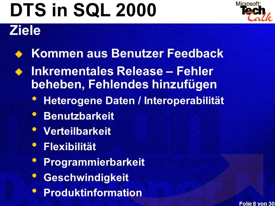 DTS in SQL 2000 Ziele Kommen aus Benutzer Feedback