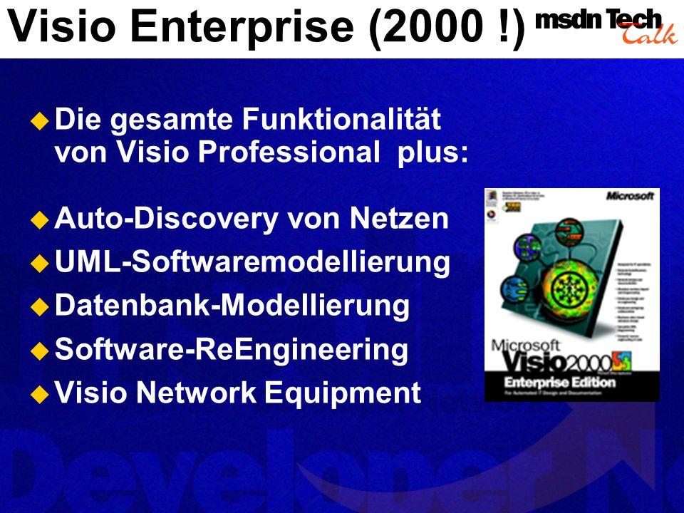 Visio Enterprise (2000 !) Die gesamte Funktionalität von Visio Professional plus: Auto-Discovery von Netzen.