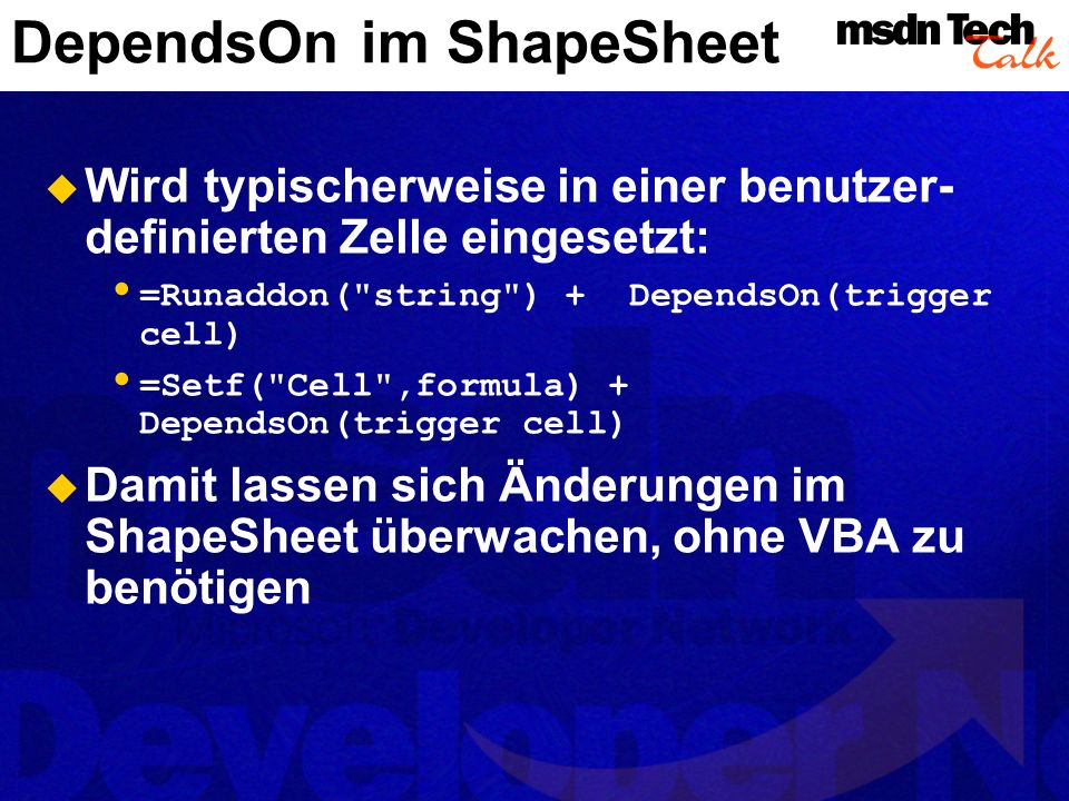 DependsOn im ShapeSheet
