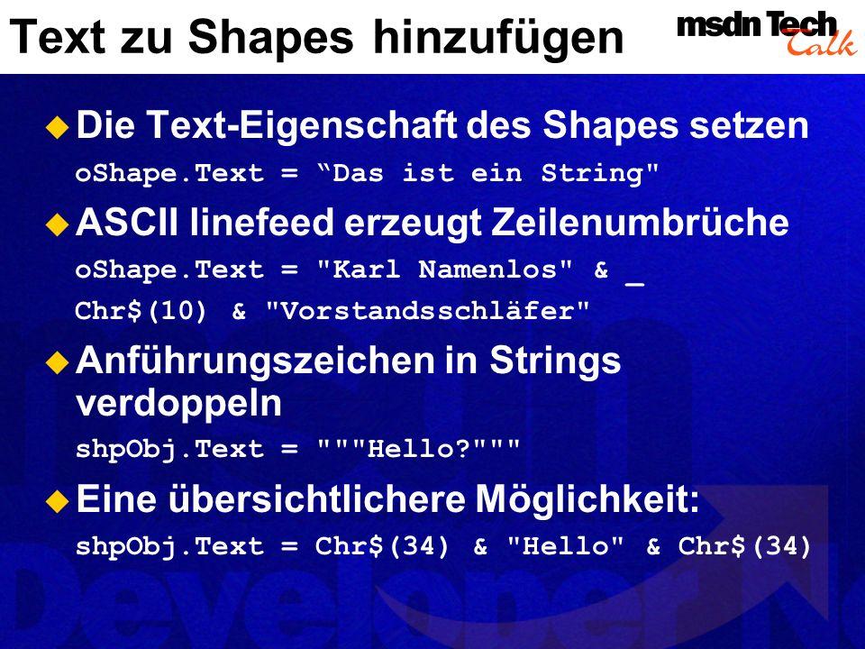 Text zu Shapes hinzufügen