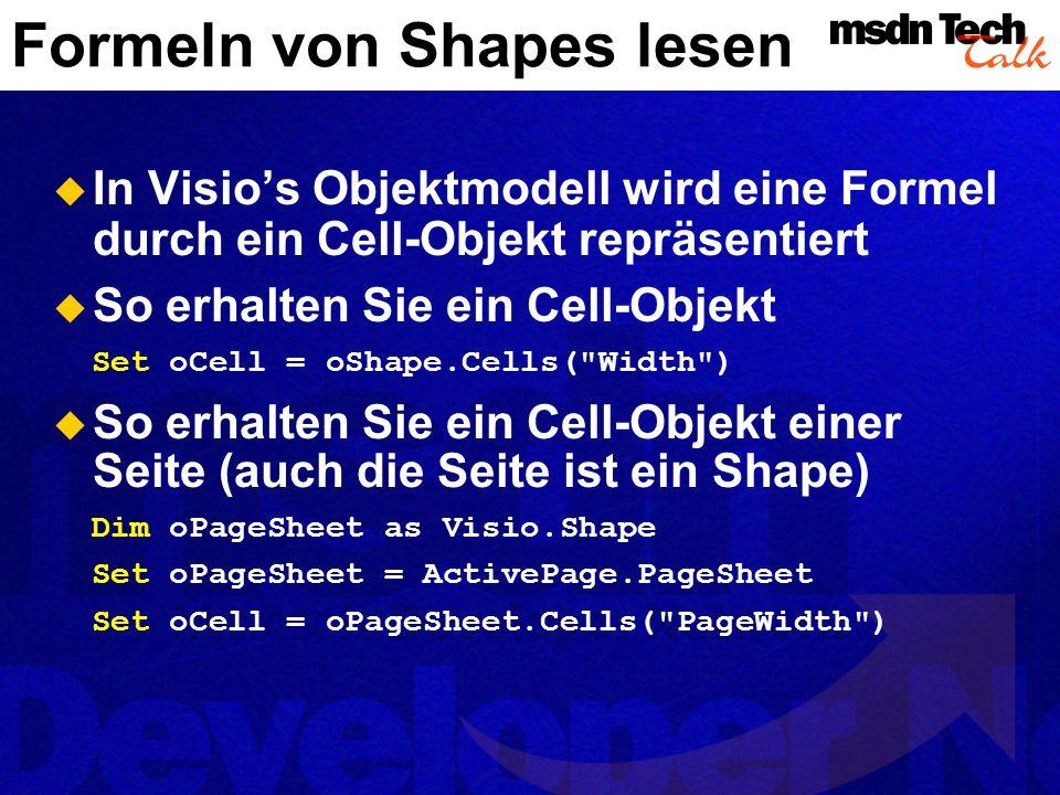 Formeln von Shapes lesen