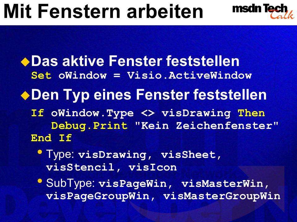 Mit Fenstern arbeiten MSDN TechTalk – Juli 2001. Microsoft Visio als universelle Graphikengine. 44.