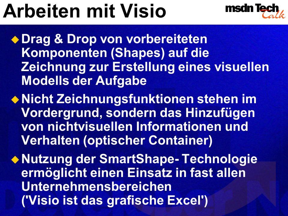Arbeiten mit Visio Drag & Drop von vorbereiteten Komponenten (Shapes) auf die Zeichnung zur Erstellung eines visuellen Modells der Aufgabe.