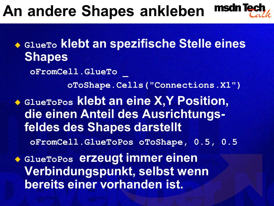 An andere Shapes ankleben