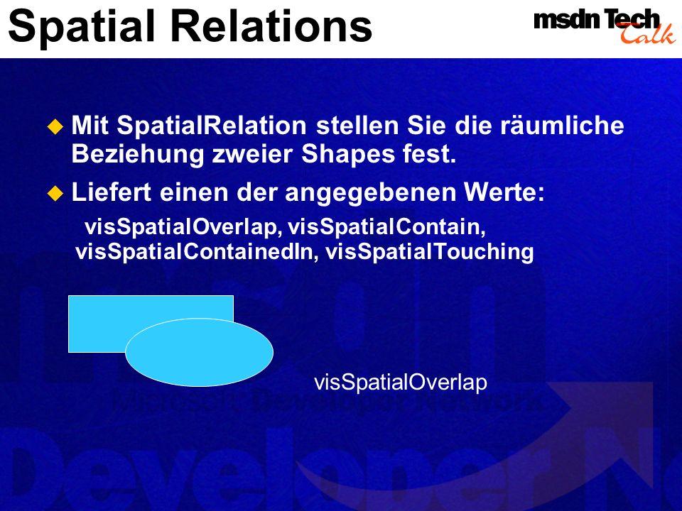 Spatial Relations Mit SpatialRelation stellen Sie die räumliche Beziehung zweier Shapes fest. Liefert einen der angegebenen Werte: