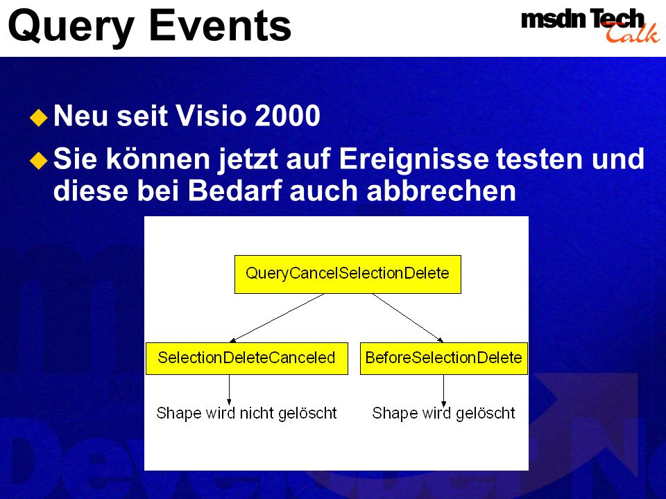 Query Events Neu seit Visio 2000