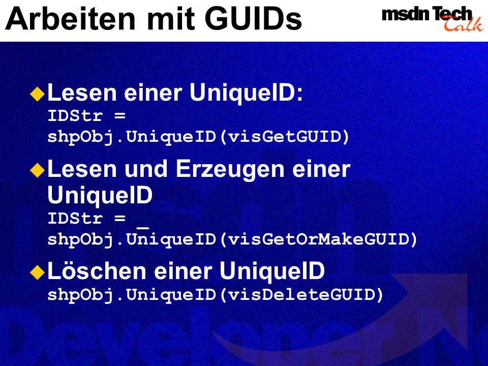 Arbeiten mit GUIDs MSDN TechTalk – Juli 2001. Microsoft Visio als universelle Graphikengine. 71.