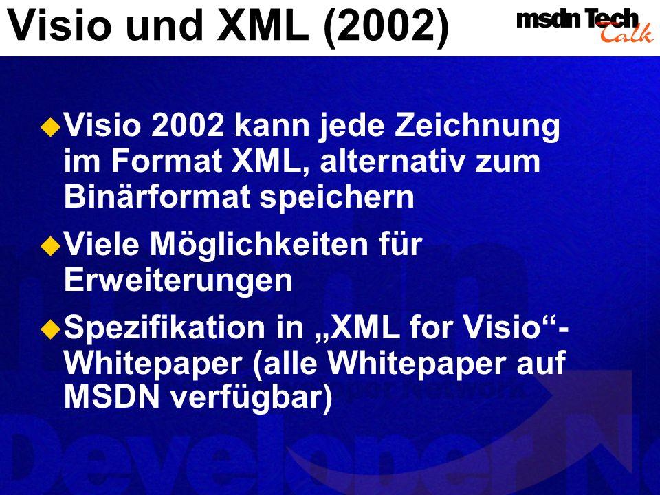Visio und XML (2002) MSDN TechTalk – Juli 2001. Microsoft Visio als universelle Graphikengine. 72.
