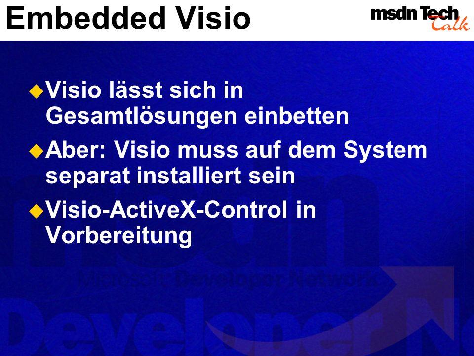 Embedded Visio Visio lässt sich in Gesamtlösungen einbetten