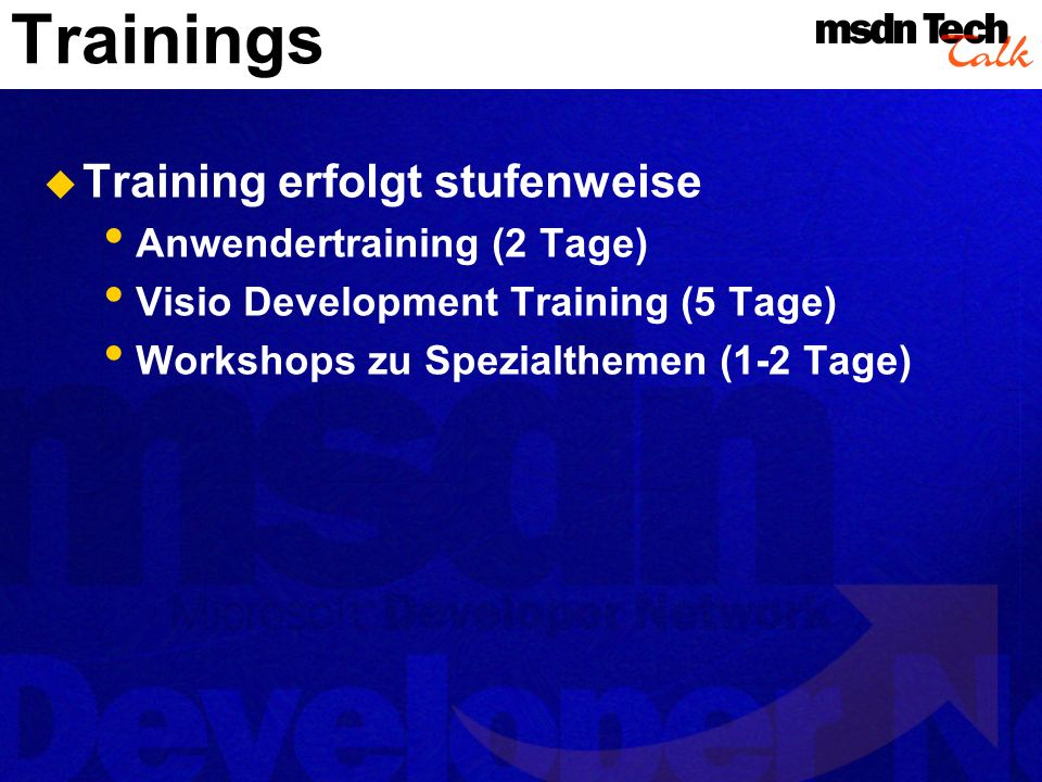 Trainings Training erfolgt stufenweise Anwendertraining (2 Tage)