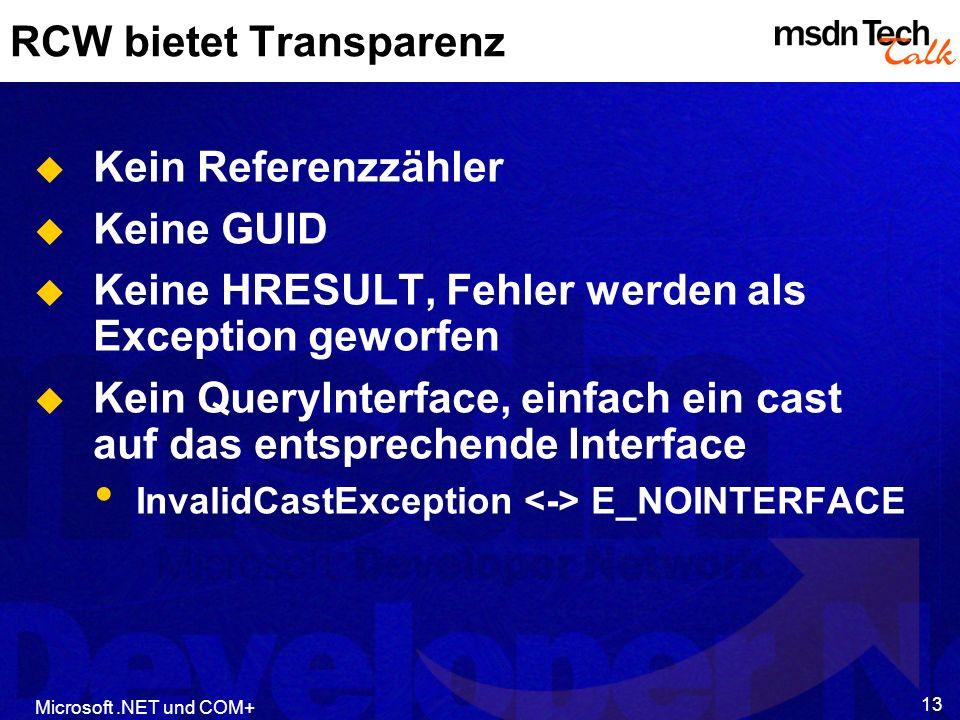 RCW bietet Transparenz