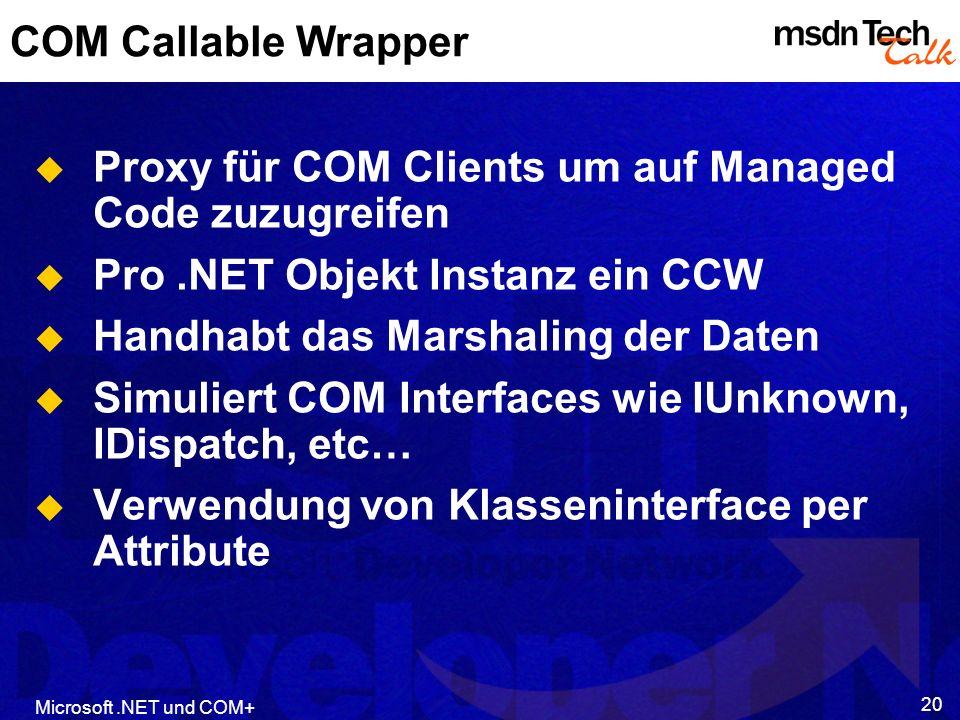 Proxy für COM Clients um auf Managed Code zuzugreifen