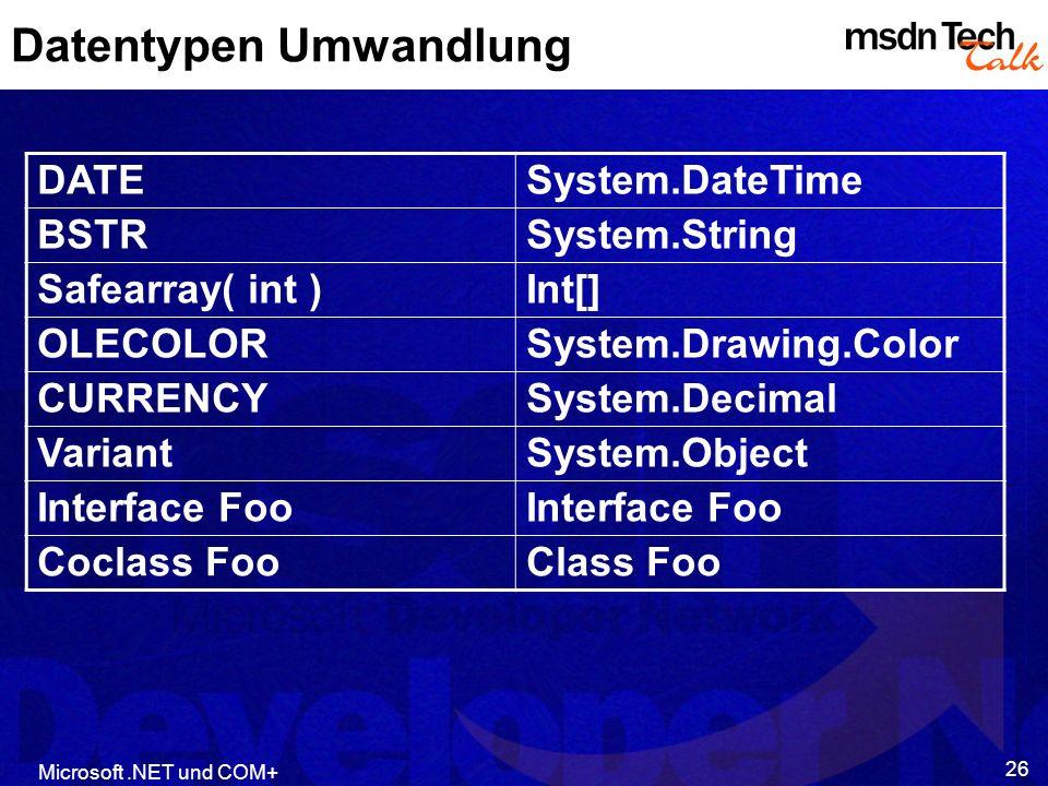 Datentypen Umwandlung