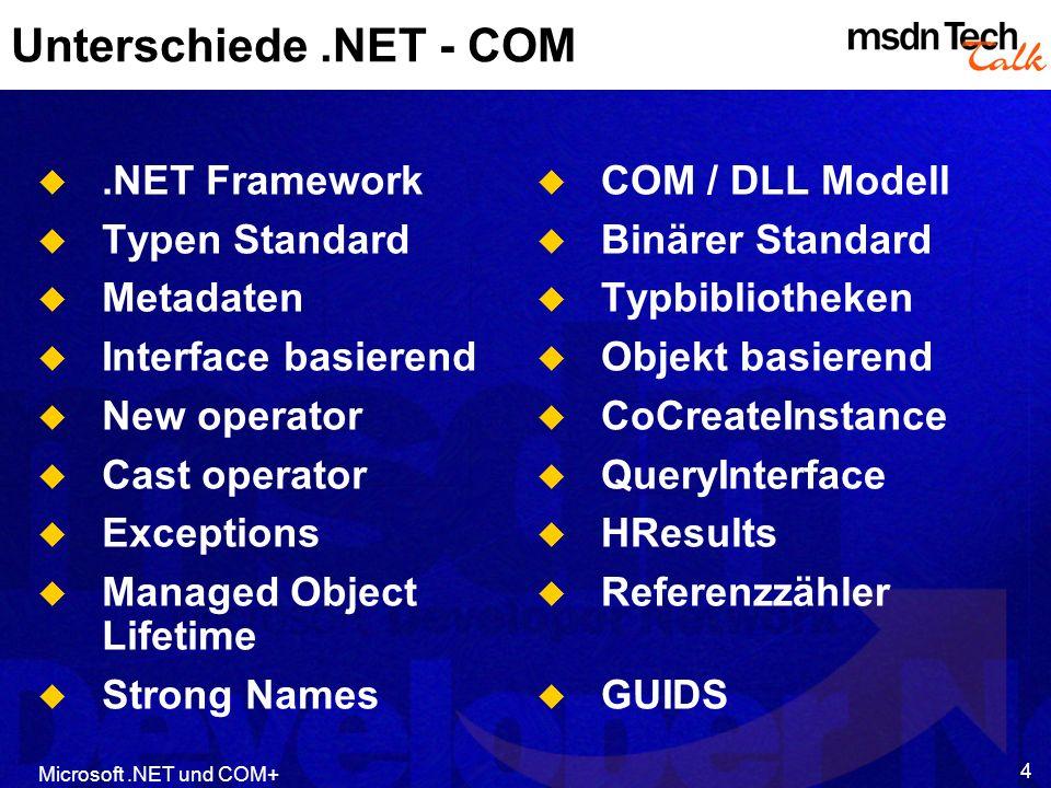 Unterschiede .NET - COM .NET Framework Typen Standard Metadaten