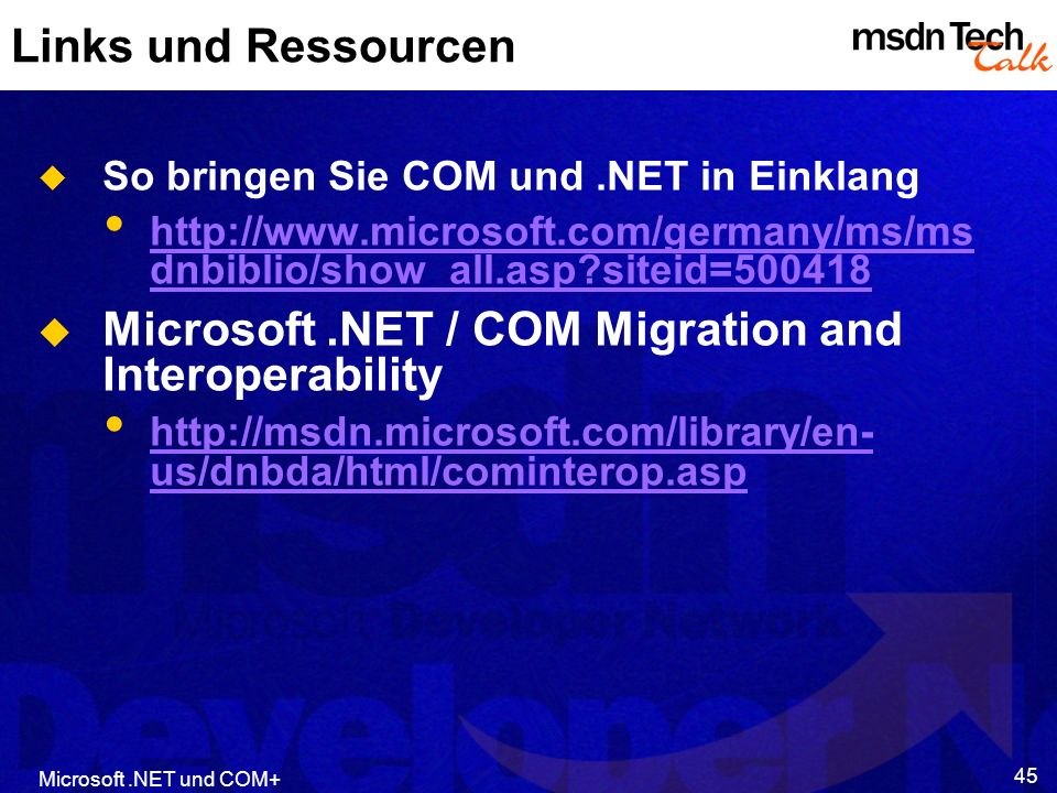 Microsoft .NET / COM Migration and Interoperability