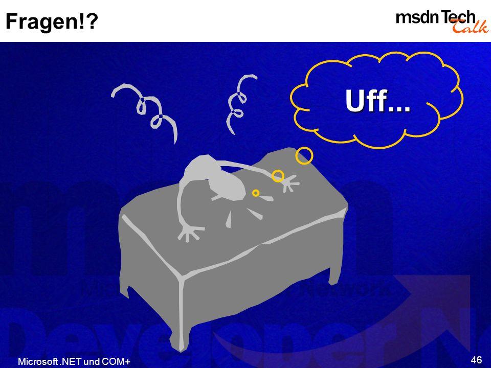Uff... Fragen! Microsoft .NET und COM+ MSDN TechTalk – Februar 2002