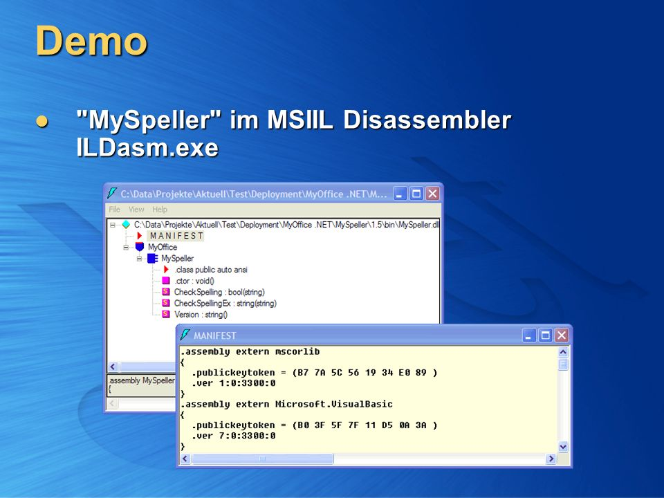 Demo MySpeller im MSIIL Disassembler ILDasm.exe