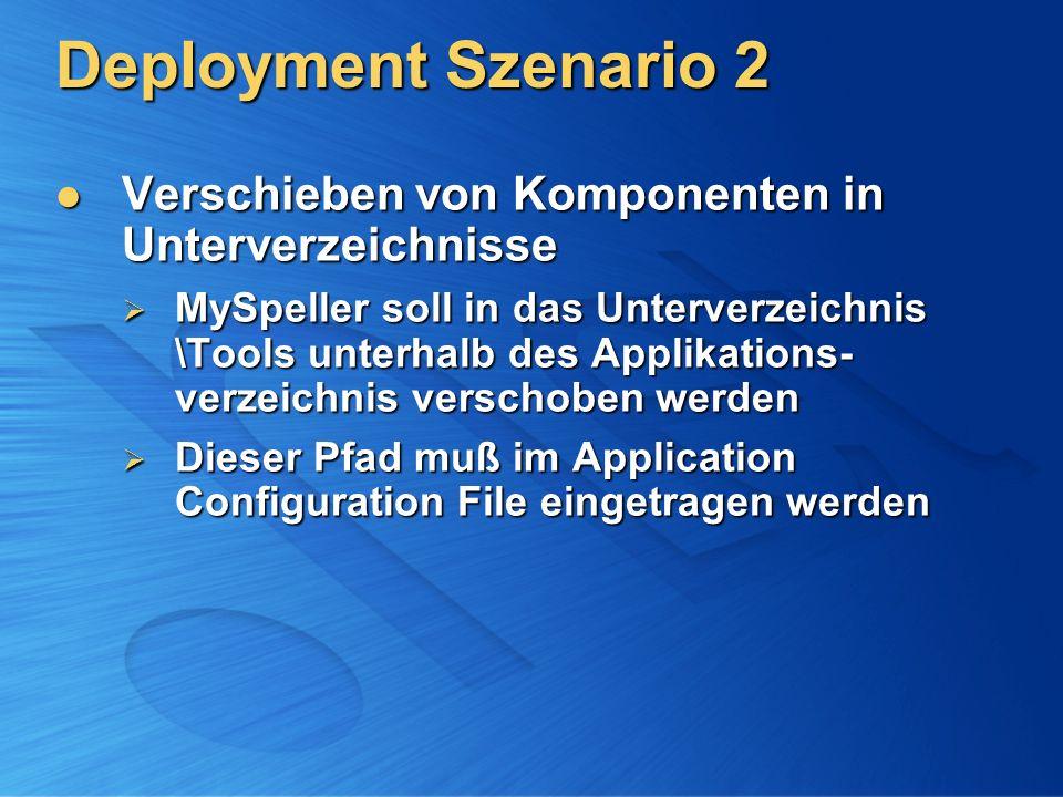 Deployment Szenario 2 Verschieben von Komponenten in Unterverzeichnisse.