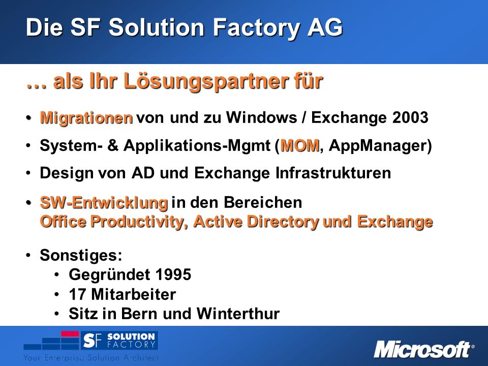 Die SF Solution Factory AG