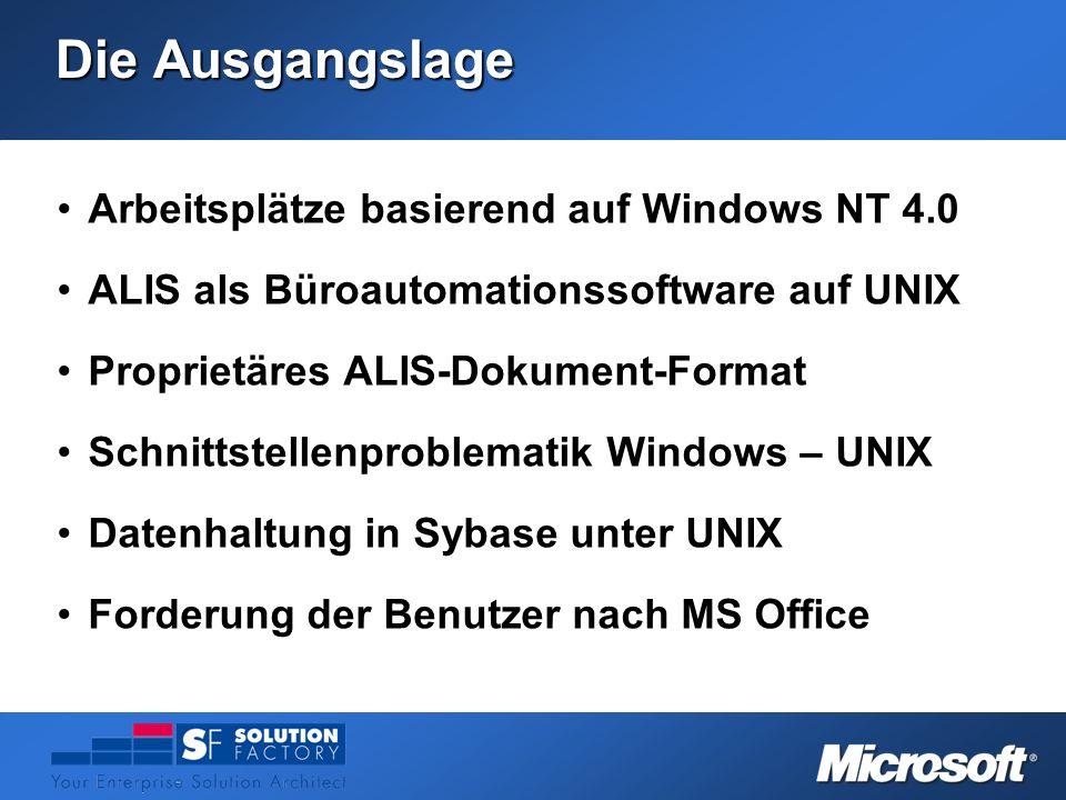 Die Ausgangslage Arbeitsplätze basierend auf Windows NT 4.0