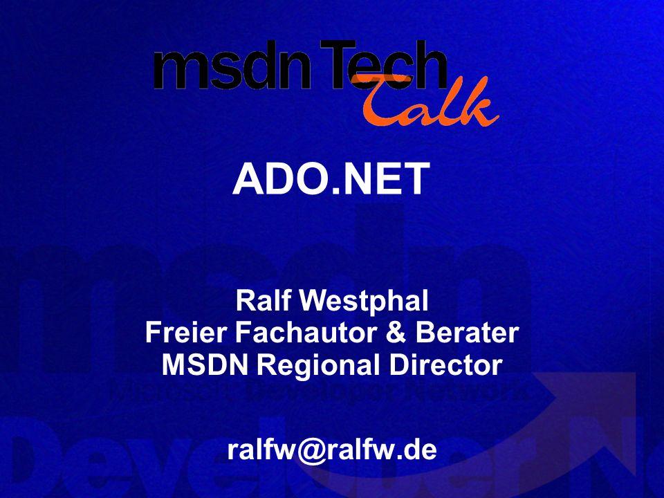 MSDN TechTalk – März 2002 ADO.NET 1