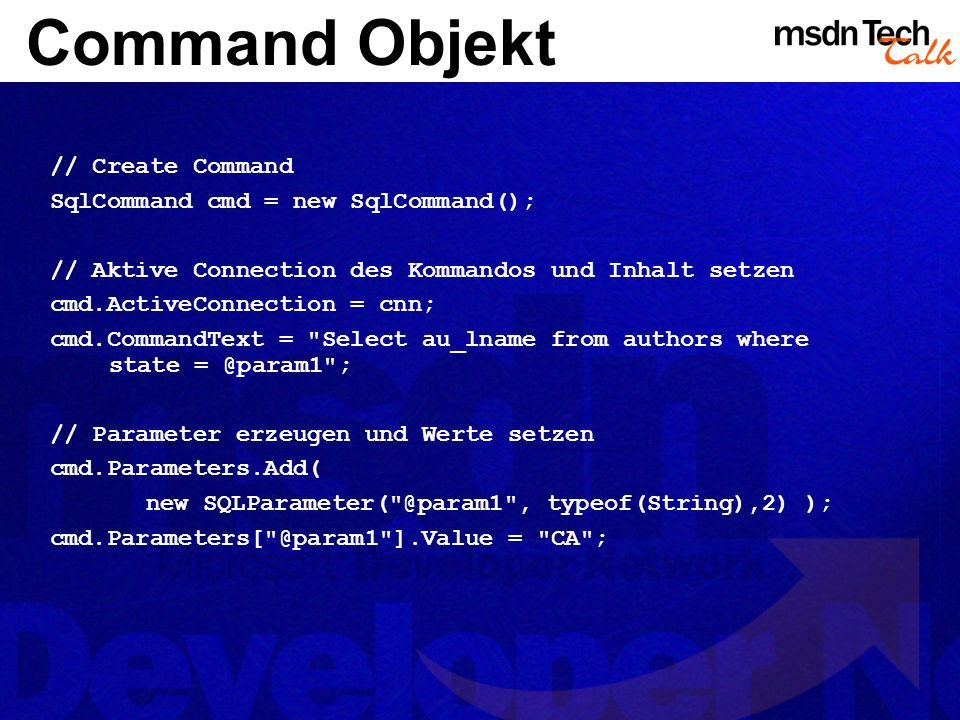 MSDN TechTalk – März 2002 ADO.NET 16