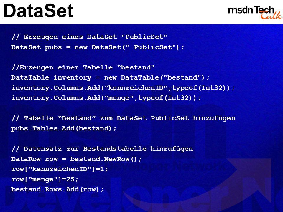 MSDN TechTalk – März 2002 ADO.NET 20