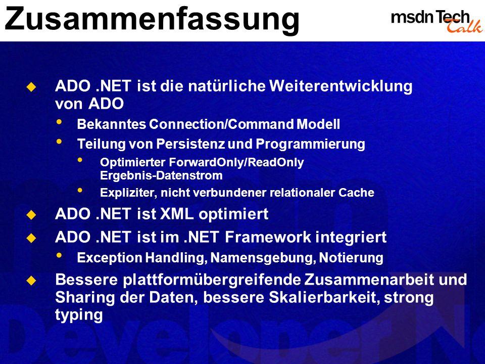 MSDN TechTalk – März 2002 ADO.NET 28
