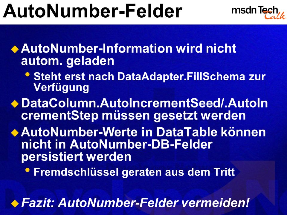 AutoNumber-Felder AutoNumber-Information wird nicht autom. geladen