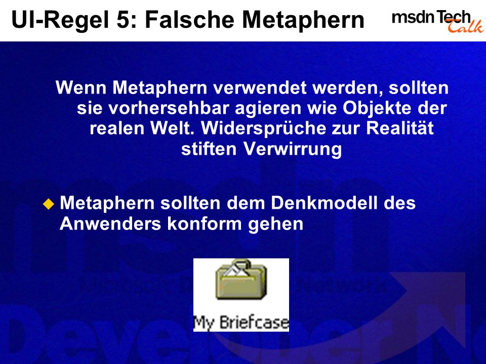 UI-Regel 5: Falsche Metaphern