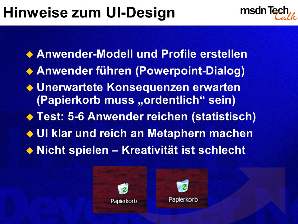Hinweise zum UI-Design